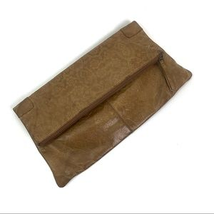 HOBO leather embossed fold over clutch